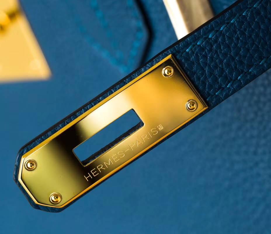 Hermes Birkin30CM 爱马仕加利西亚蓝顶级Togo牛皮铂金包 金扣