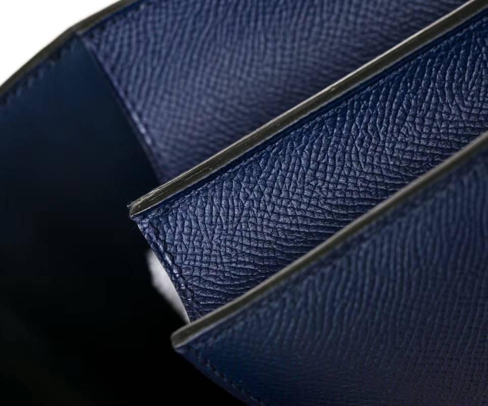 爱马仕空姐包尺寸 Hermes Constance24CM CK73宝石蓝康斯坦包 银扣
