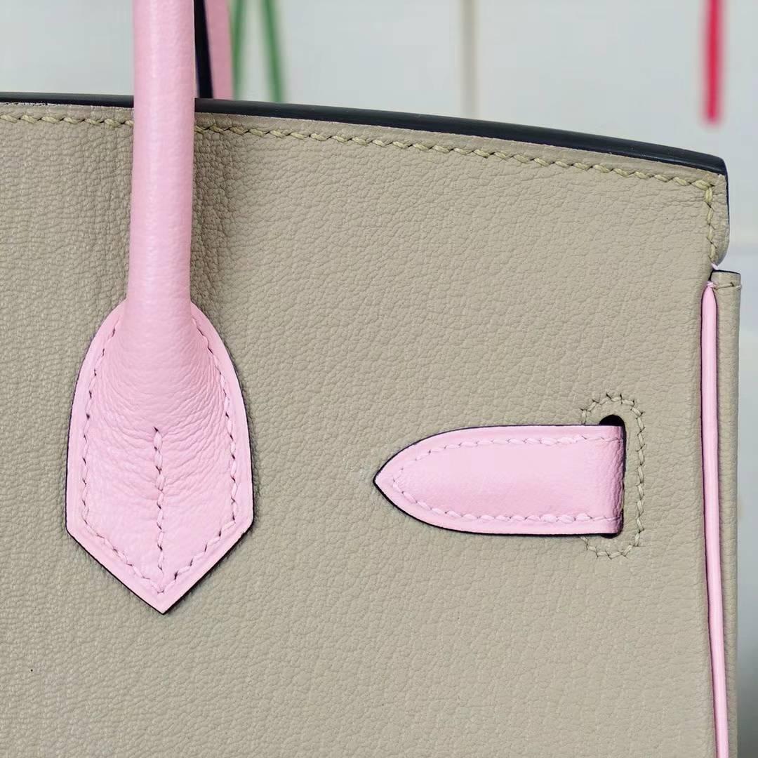 Hermes Birkin30CM 爱马仕CK81斑鸠灰拼3Q水粉色顶级山羊皮 拉丝金扣