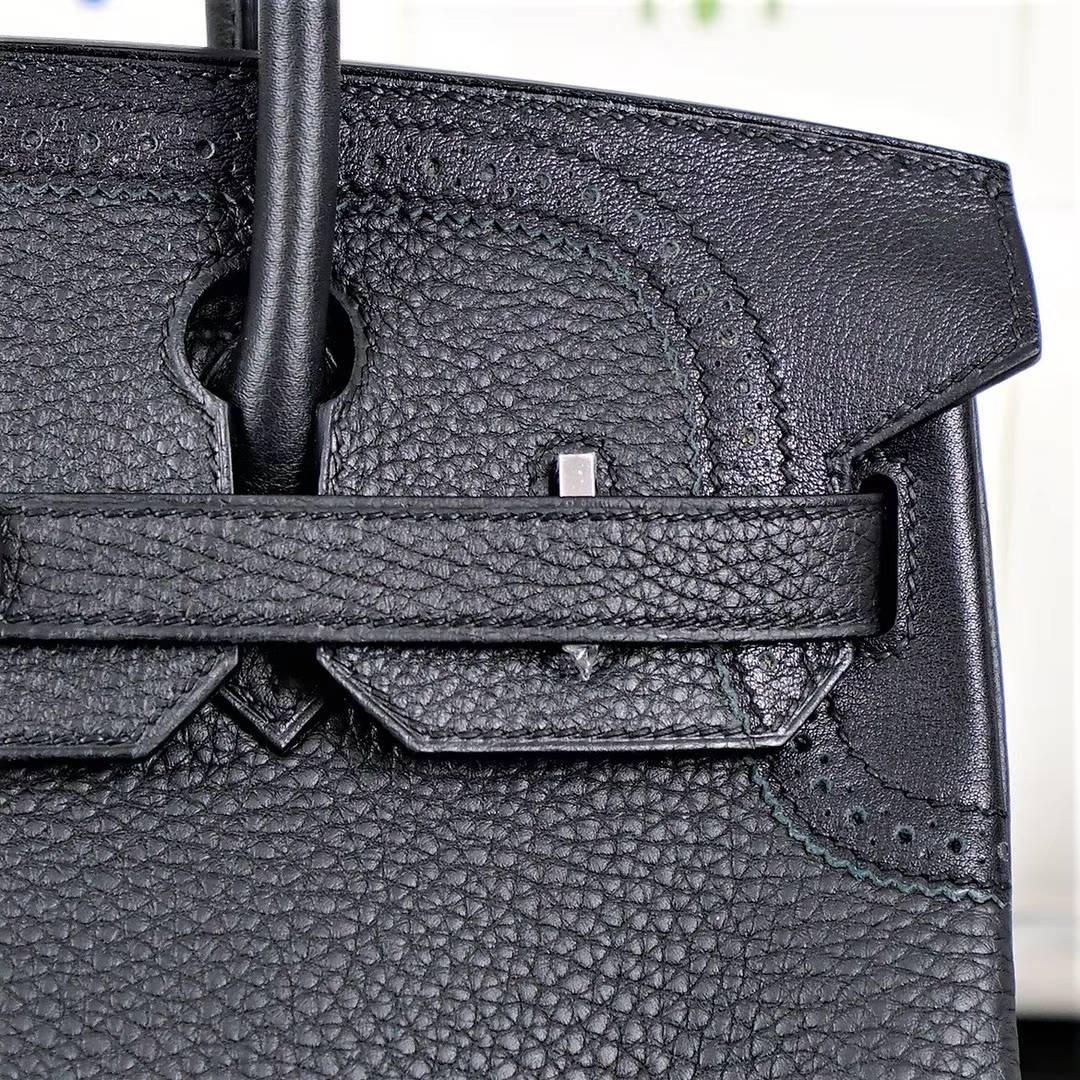 爱马仕蕾丝款铂金包 Hermes Birkin30CM 黑色顶级Togo牛皮 银扣