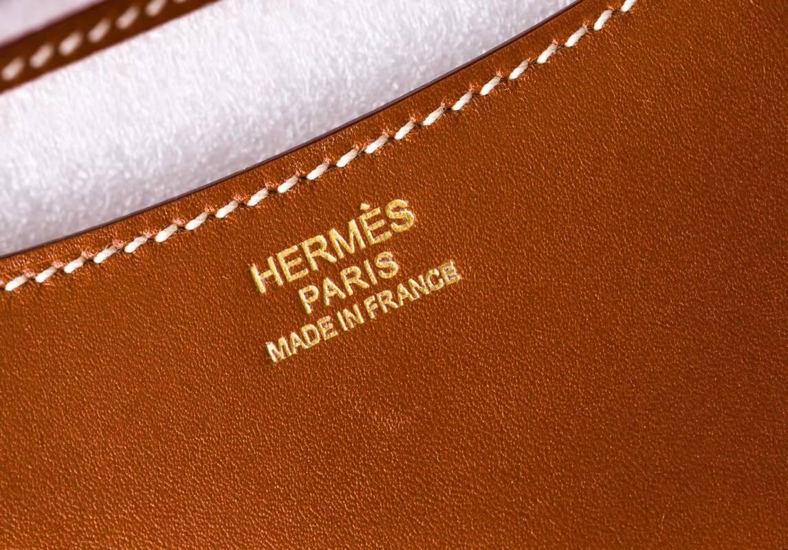 爱马仕康斯坦包 Hermes Constance19CM 金色顶级Box牛皮空姐包 金扣