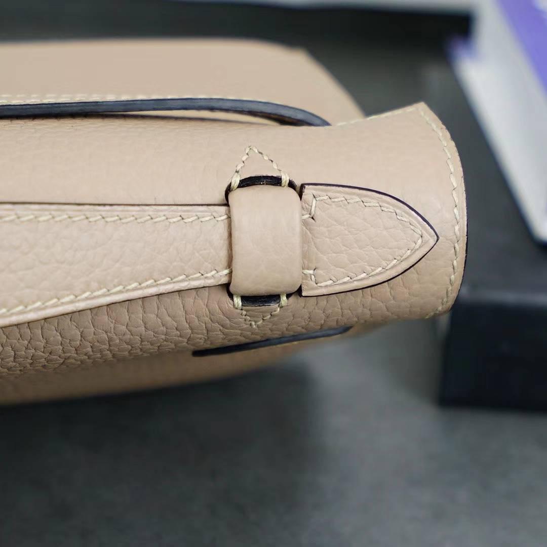 Hermes爱马仕迷你凯莉包 CK81斑鸠灰原厂Togo牛皮Minikelly手包 银扣