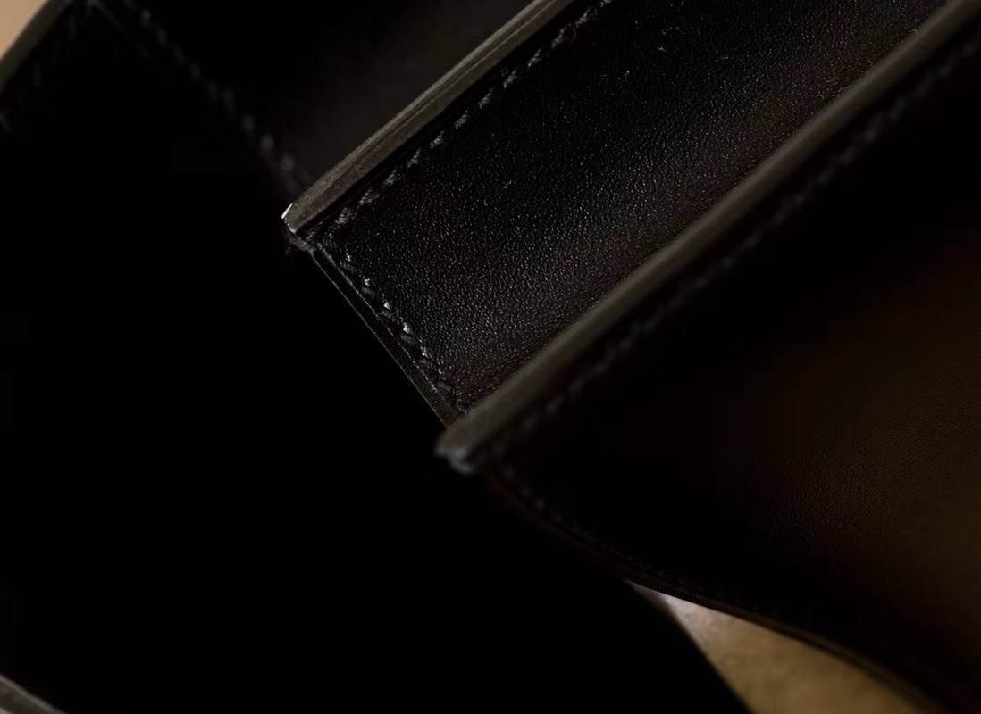 Hermes Constance24CM 爱马仕黑色原厂顶级Box牛皮康斯坦空姐包 金扣