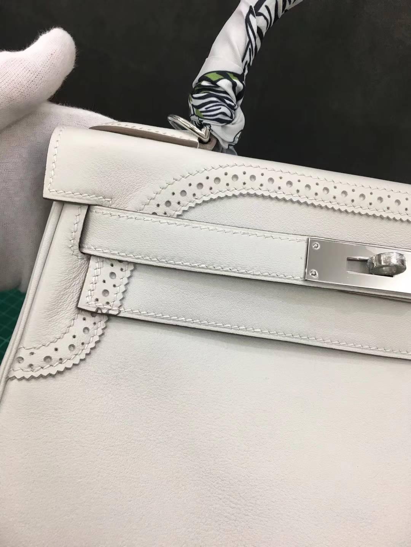 爱马仕蕾丝款凯莉包 Hermes Kelly28CM珍珠灰原厂Swift牛皮 银扣