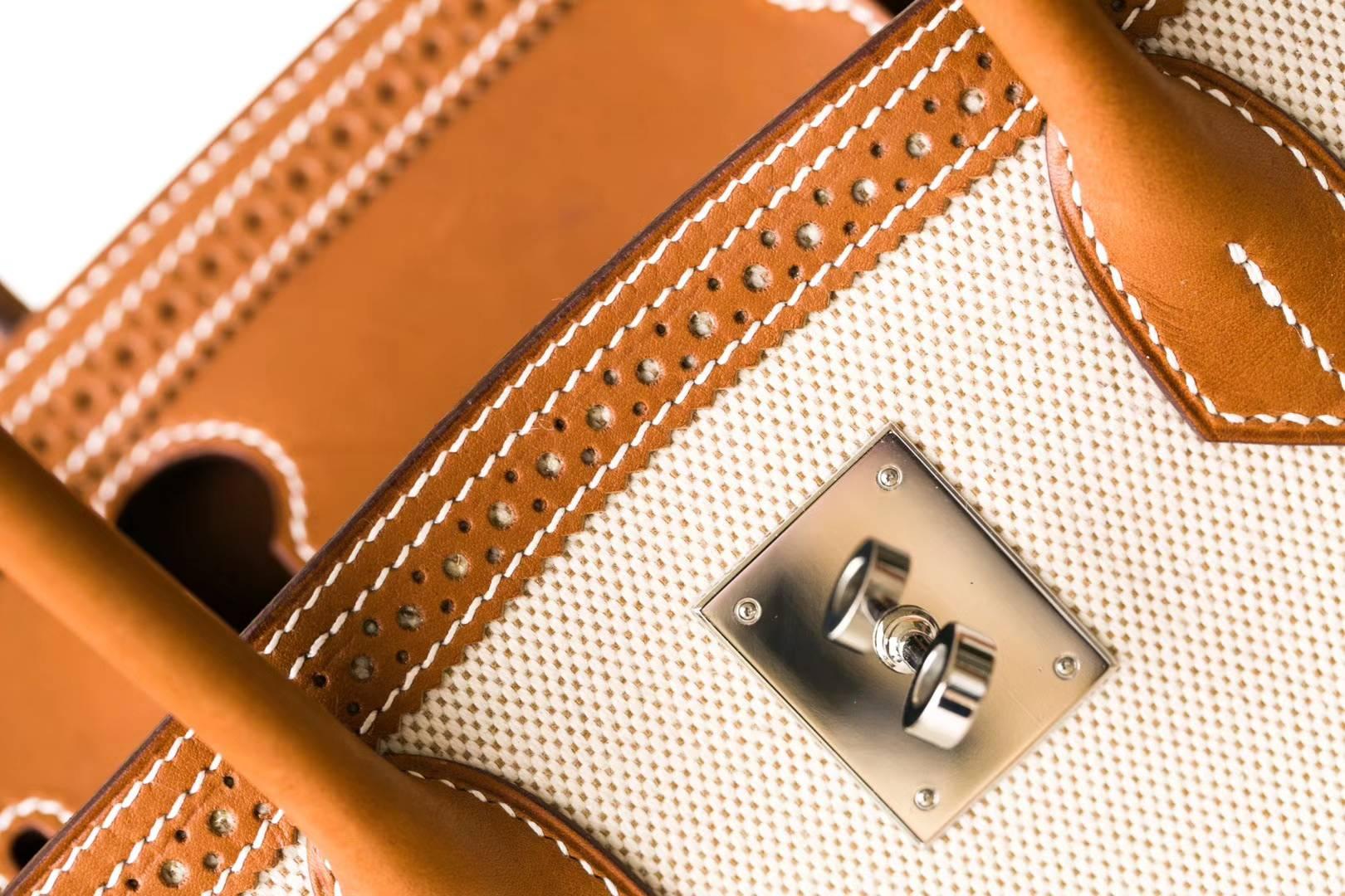爱马仕蕾丝款铂金包 Hermes Birkin30CM 金色Swift牛皮拼奶昔白帆布 银扣