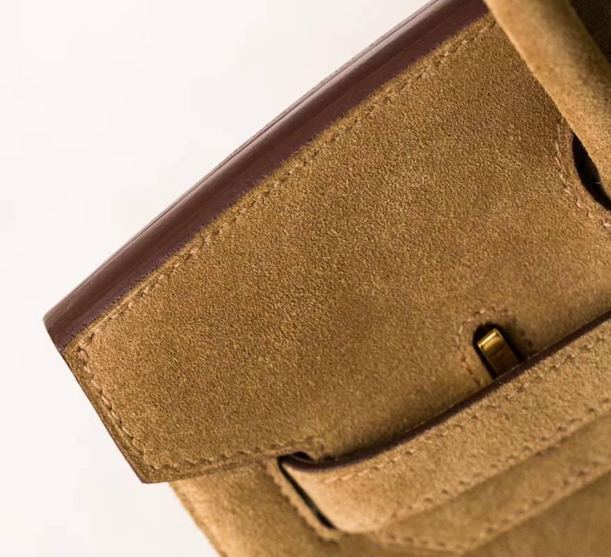 Hermes包包官网 爱马仕原厂顶级麂皮Birkin30铂金包金色 金扣