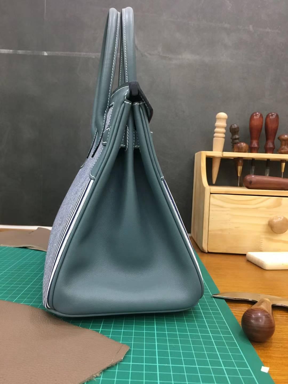 爱马仕Birkin包包 Hermes75牛仔蓝原厂Swift牛皮拼帆布铂金包Birkin30CM 银扣