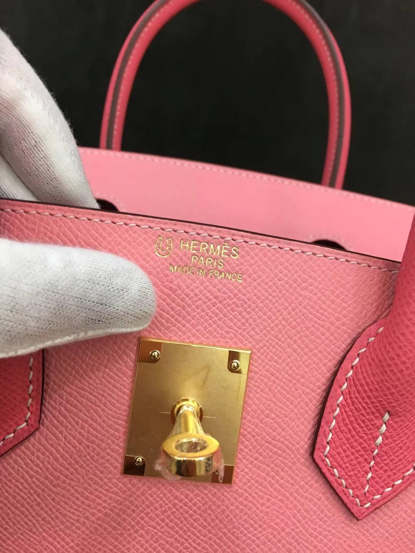爱马仕拼色铂金包 Hermes Birkin30CM E5糖果粉拼1Q奶昔粉Epsom牛皮 金扣