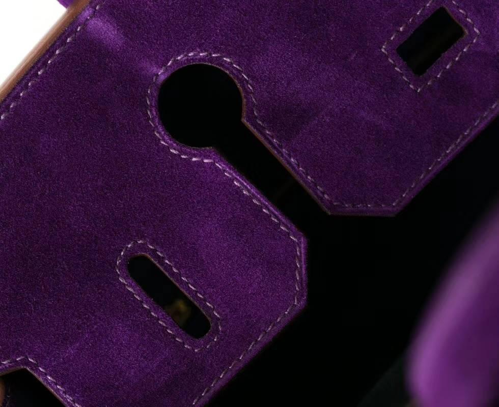 Hermes Birkin30CM 爱马仕海葵紫原厂顶级麂皮铂金包 金扣