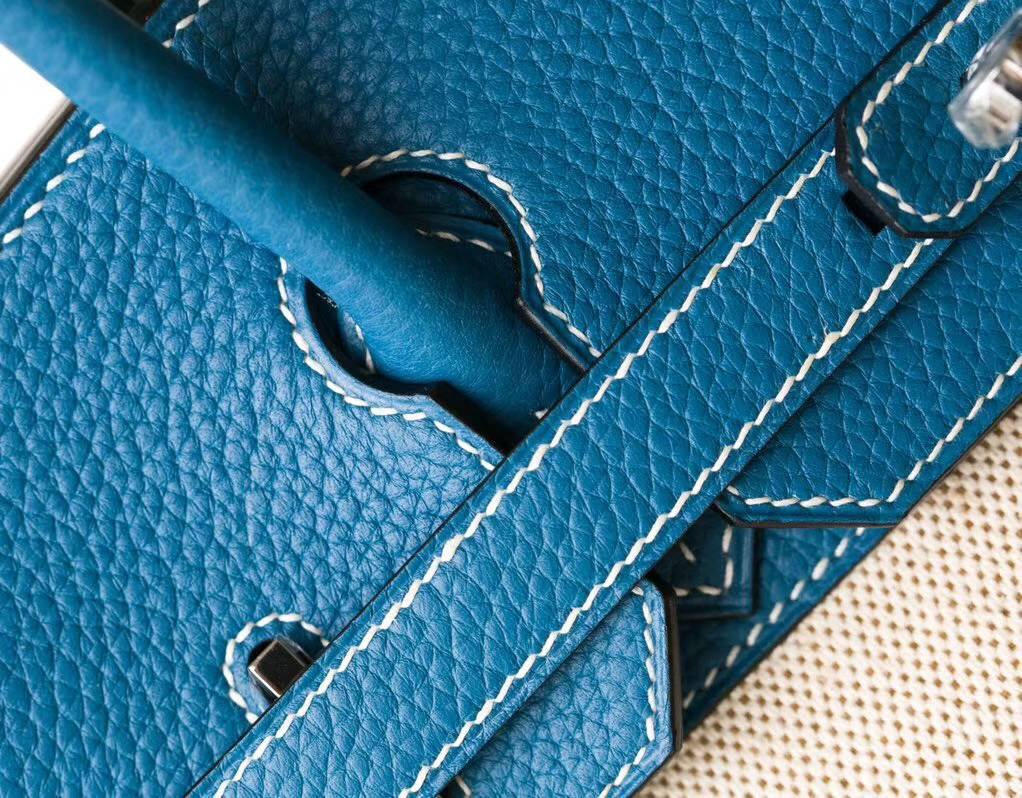 爱马仕拼色铂金包 Hermes牛仔蓝Togo牛皮拼奶昔白帆布Birkin30CM 银扣