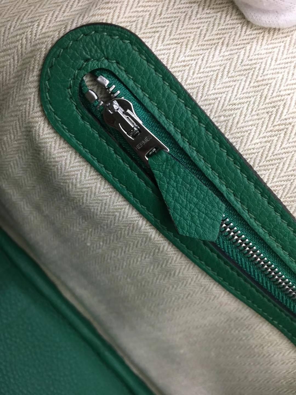 爱马仕新款女包 Hermes Togo牛皮Garden Party花园包30CM U4丝绒绿 银扣