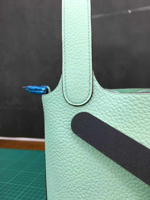爱马仕菜篮子包 Hermes Picotin18CM 新色雪糕绿顶级TC牛皮水桶包 银扣