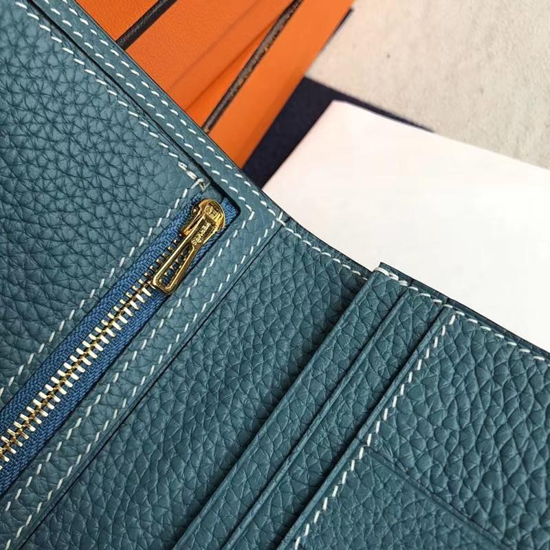 爱马仕西装夹 Hermes H扣荔枝纹牛皮牛仔蓝长款钱包手包 金扣