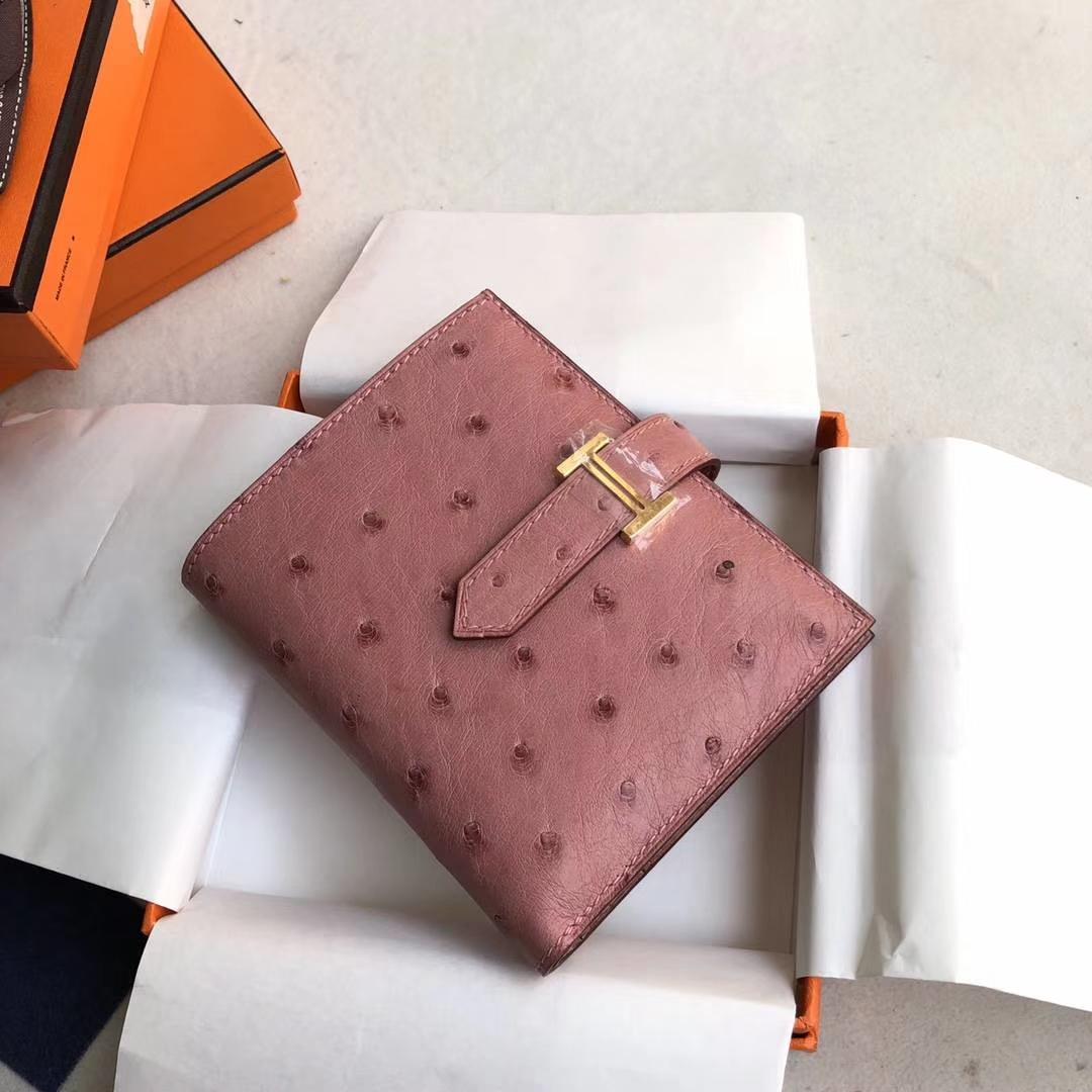 Hermes钱包价格 爱马仕陶瓷粉顶级鸵鸟皮H扣短款钱夹卡包 金扣