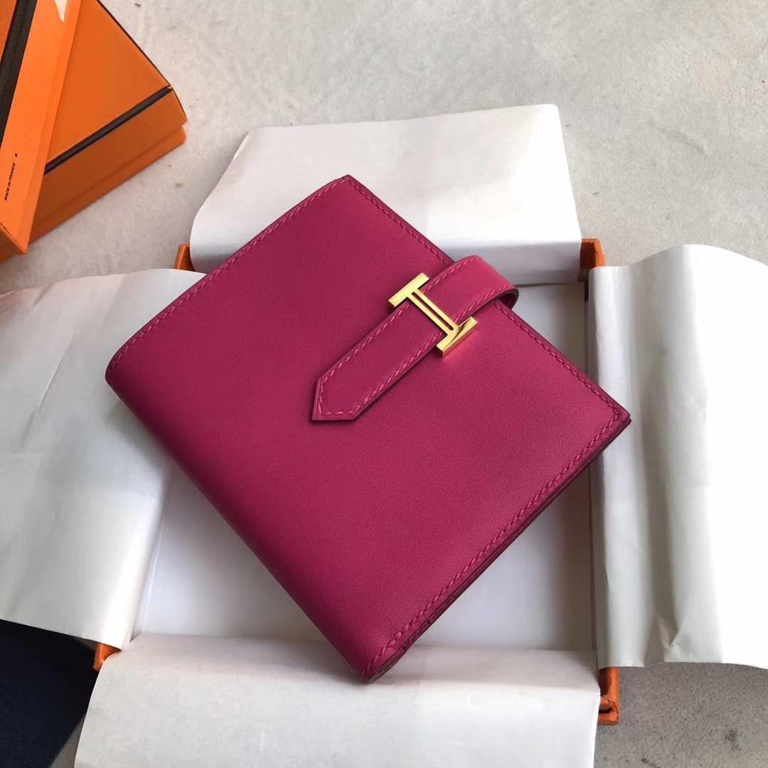 爱马仕钱夹价格 Hermes玫红色原厂Swift牛皮Bearn短款钱包 金扣