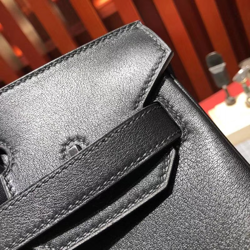 Hermes包包官网 爱马仕原厂Swift牛皮Birkin30铂金包 黑色 银扣