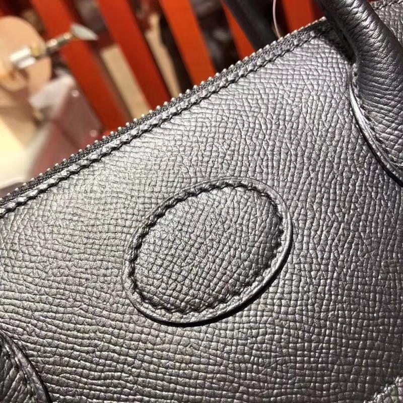 厂家直销 Hermes爱马仕黑色Epsom牛皮手提女包保龄球包Bolide27CM