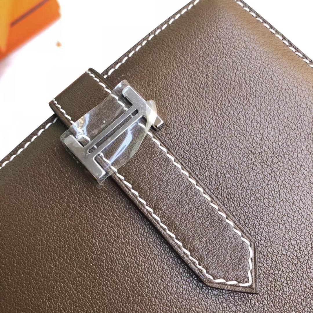Hermes Bearn钱夹 爱马仕大象灰顶级Swift牛皮H扣短款钱包卡包 银扣