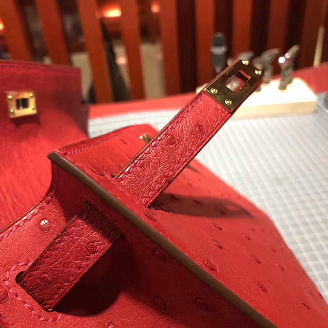 Hermes Minikelly Pochette22CM 爱马仕顶级鸵鸟皮迷你凯莉包 国旗红 金扣