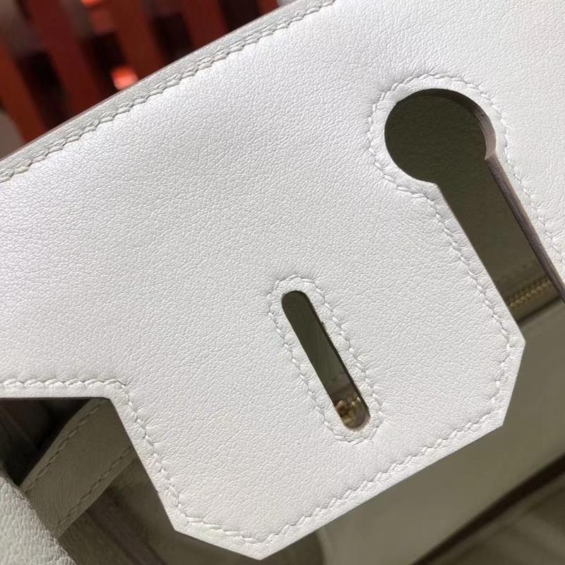 爱马仕Birkin包包 Hermes奶昔白原厂Swift牛皮铂金包Birkin30CM 金扣