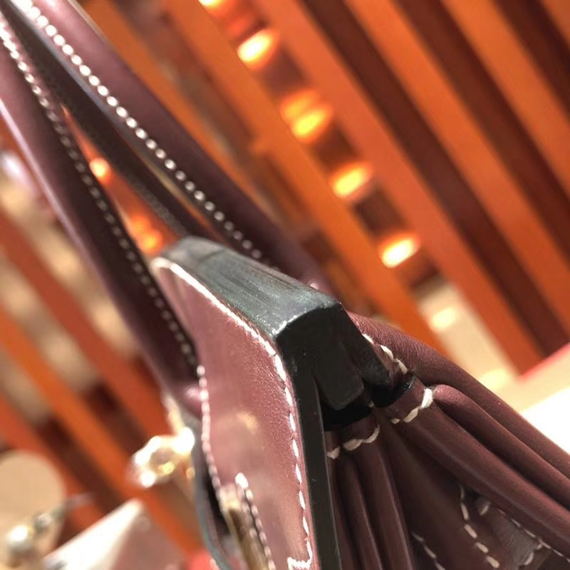 爱马仕Birkin包包 Hermes宝石红原厂Box牛皮Birkin30CM铂金包 金扣