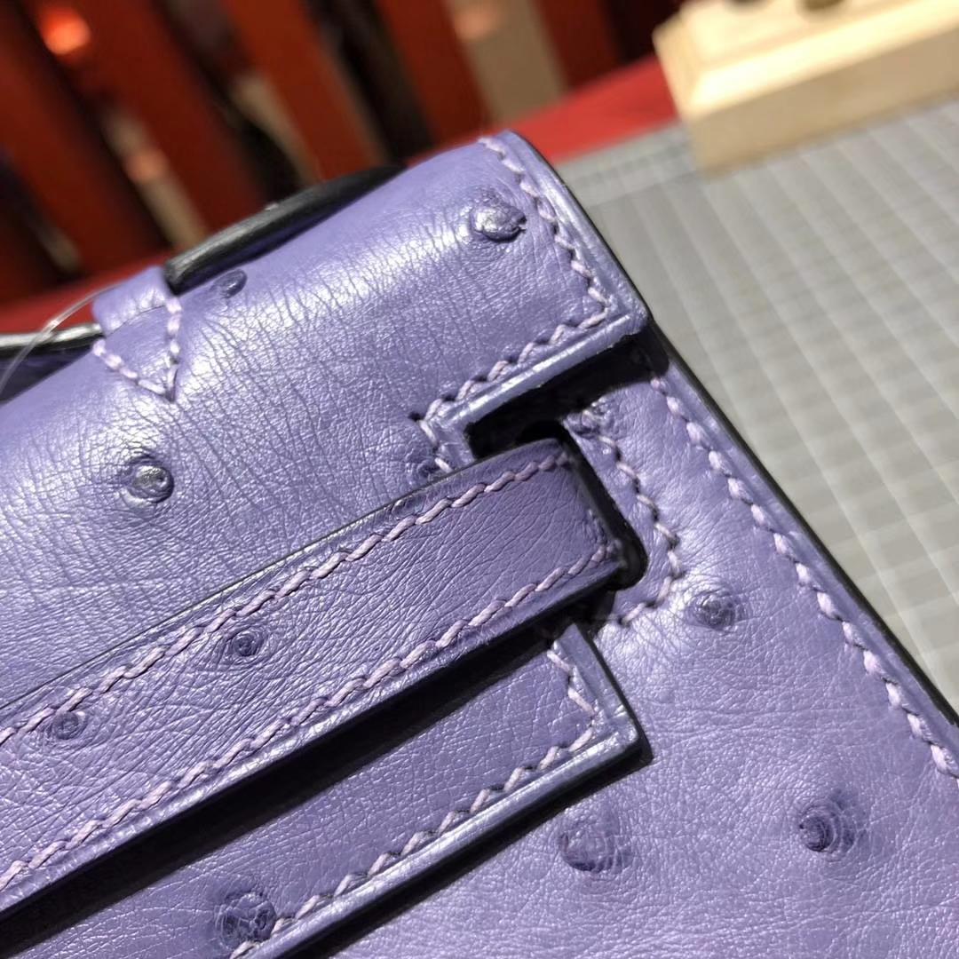 爱马仕迷你凯莉包 Hermes Minikelly 5H薰衣草紫色原厂鸵鸟皮 金扣