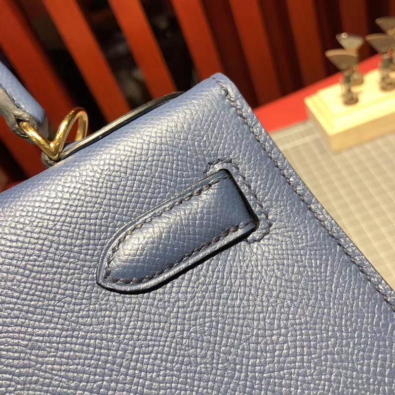 Hermes包包批发 爱马仕玛瑙蓝十字纹牛皮凯莉包Kelly28CM 金扣