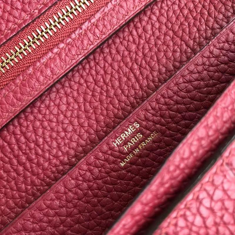 Hermes钱包官网 爱马仕荔枝纹牛皮H扣西装夹长款钱包 玫红色 金扣