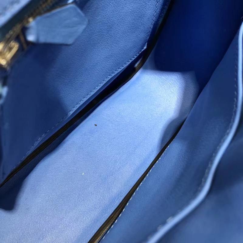 爱马仕包包官网 Hermes Berline20CM 希腊蓝原厂Swift牛皮单肩斜挎包