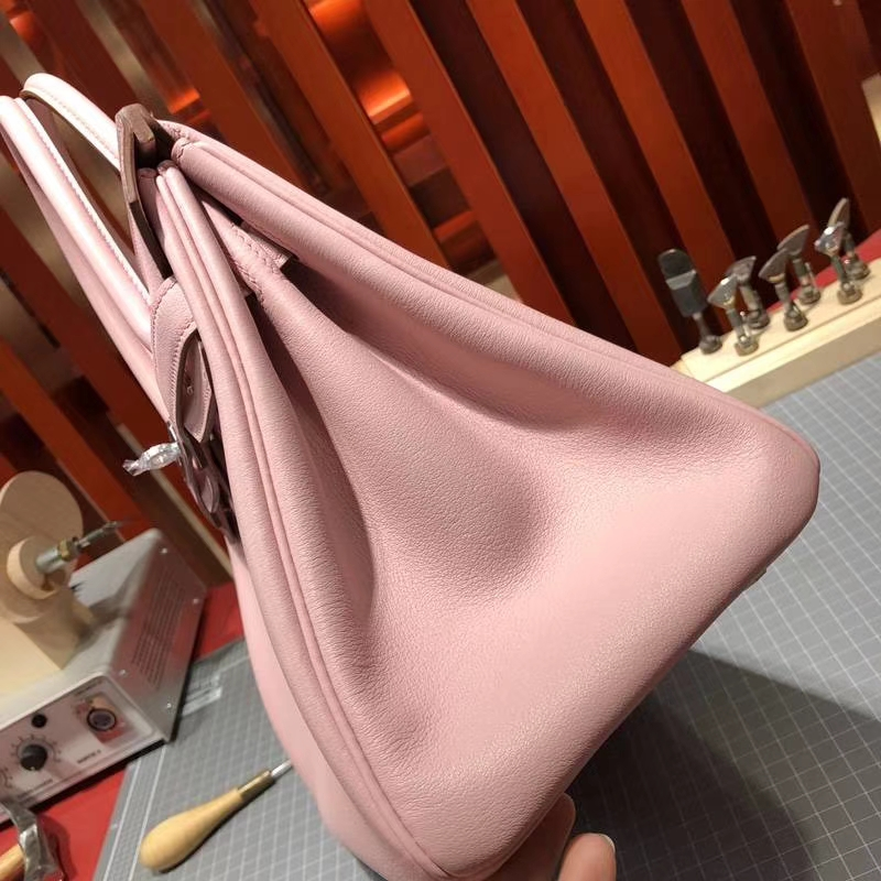 爱马仕铂金包价格 Hermes原厂Swift牛皮3Q粉色铂金包Birkin30CM 金扣