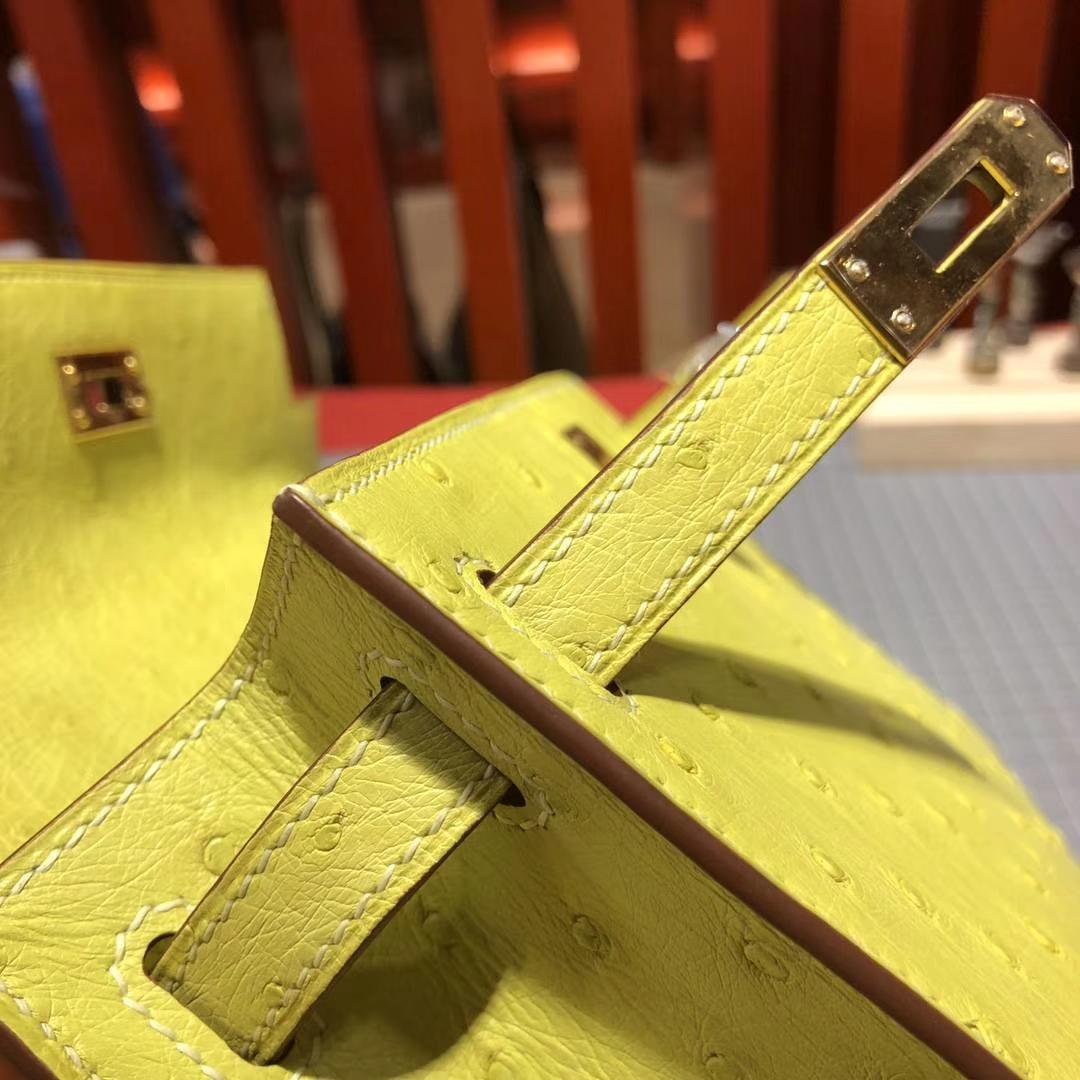 Hermes Minikelly22CM 爱马仕顶级鸵鸟皮9R柠檬黄迷你凯莉包手包 金扣