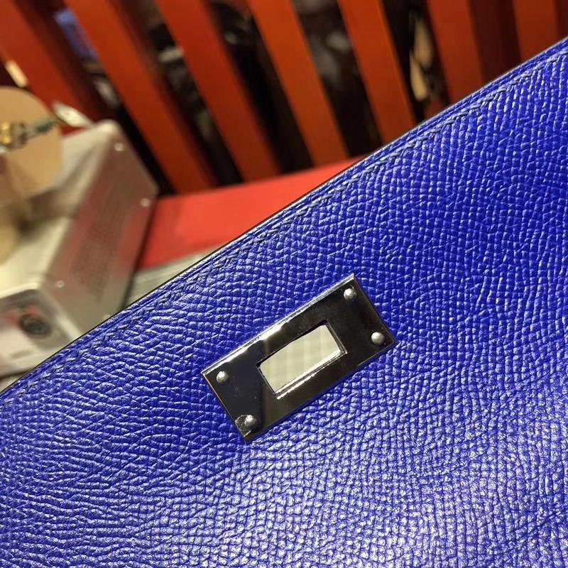 爱马仕Kelly包包 Hermes电光蓝十字纹牛皮凯莉包Kelly28CM 银扣