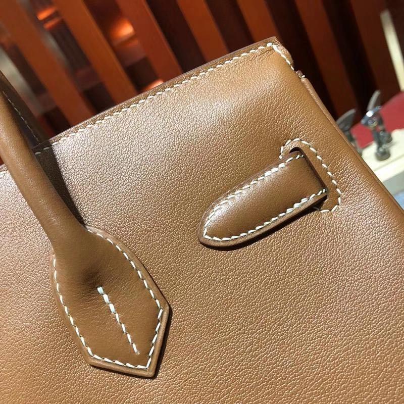 爱马仕铂金包尺寸 Hermes Birkin30CM 土黄色原厂Swift牛皮 银扣