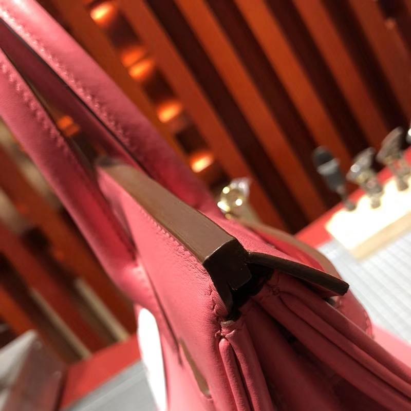 Hermes女包价格 爱马仕原厂Swift牛皮Birkin30铂金包 唇膏粉 金扣