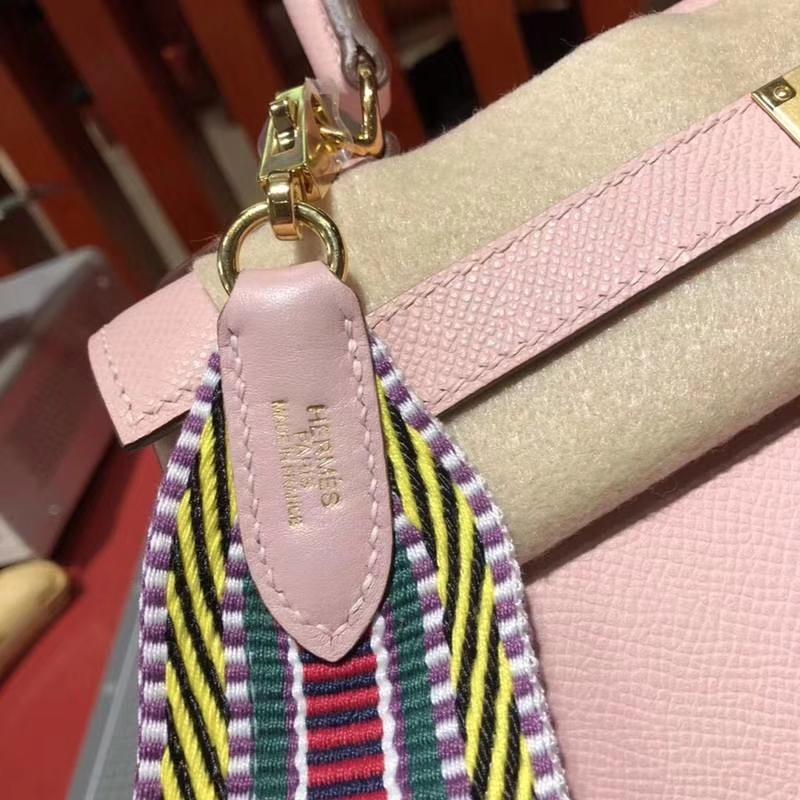 Hermes Kelly28CM 爱马仕3Q粉色原厂Epsom牛皮新款织带凯莉包 金扣