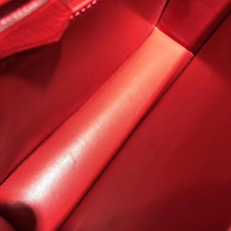 爱马仕包包官网 Hermes中国红顶级Epsom牛皮Constance24CM空姐包 银扣