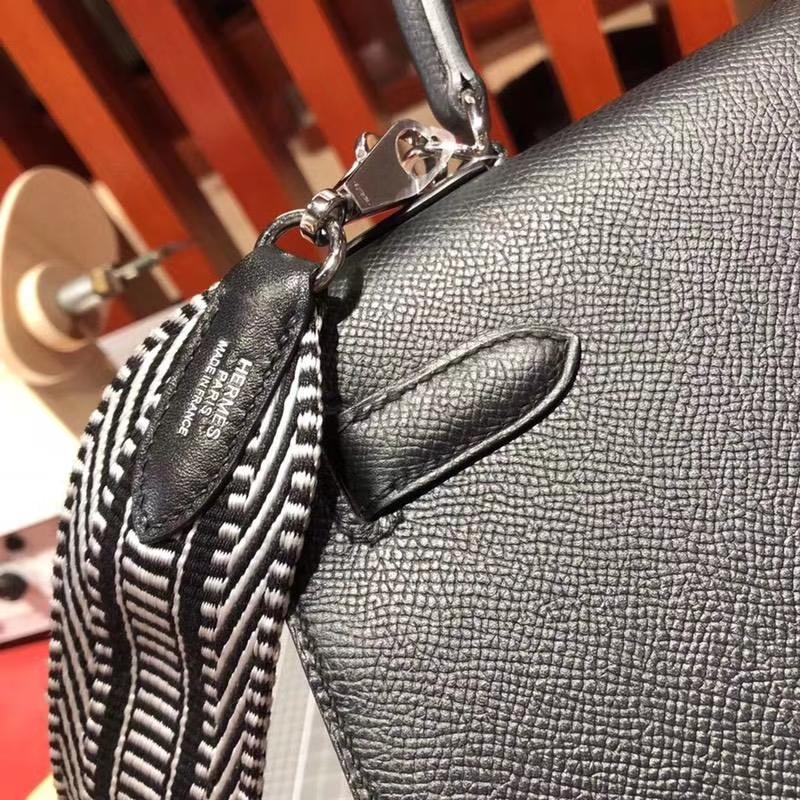 爱马仕外缝凯莉包 Hermes黑色Epsom牛皮Kelly28CM 搭配新款织带 银扣