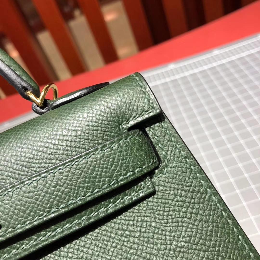爱马仕迷你凯莉包2代 Hermes Minikelly 2Q英国绿原厂Epsom牛皮手包 金扣