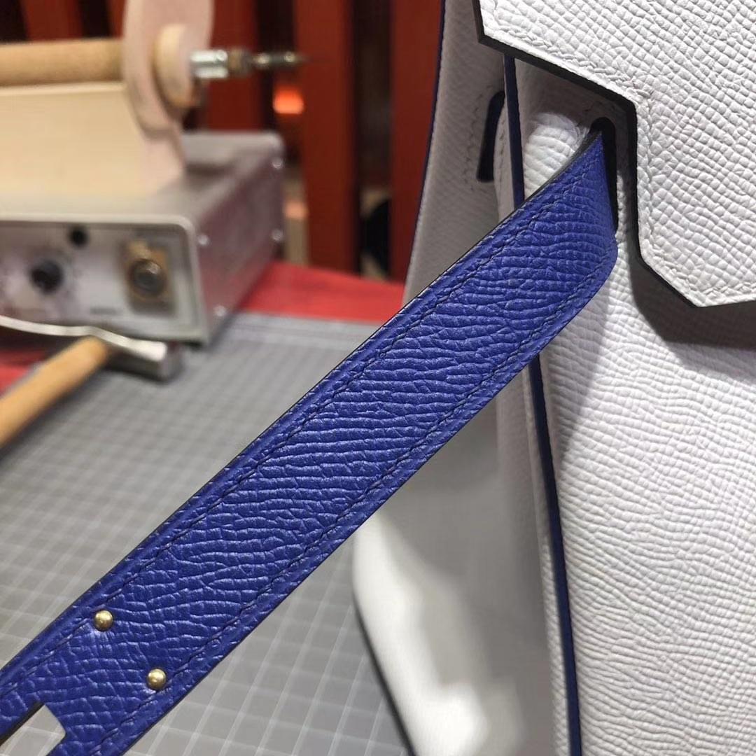 Hermes Birkin30CM 爱马仕纯白拼电光蓝原厂十字纹牛皮铂金包 银扣