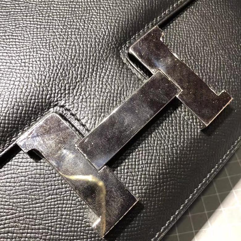 Hermes Constance24CM 爱马仕黑色Epsom牛皮康斯坦空姐包 银扣