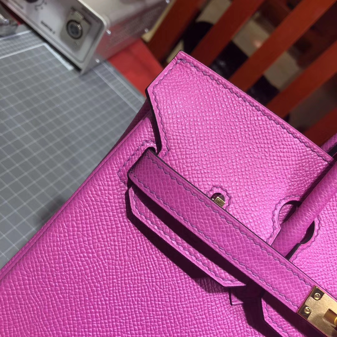 Hermes包包官网 爱马仕玫瑰紫原厂御用Epsom牛皮铂金包 金扣