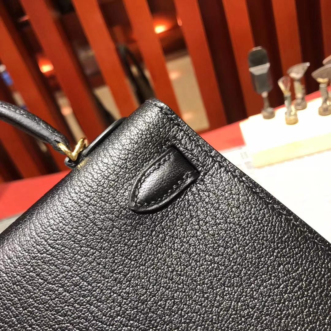 Hermes Minikelly2代 爱马仕89黑色顶级山羊皮迷你凯莉包手包19cm 金扣