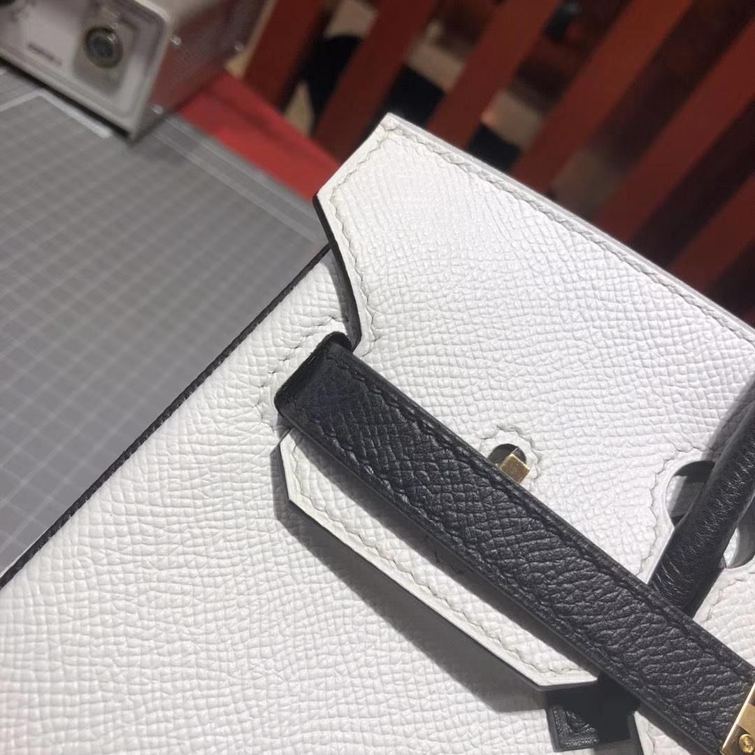 爱马仕拼色铂金包 Hermes白色拼黑色原厂十字纹牛皮Birkin包包25CM 金扣