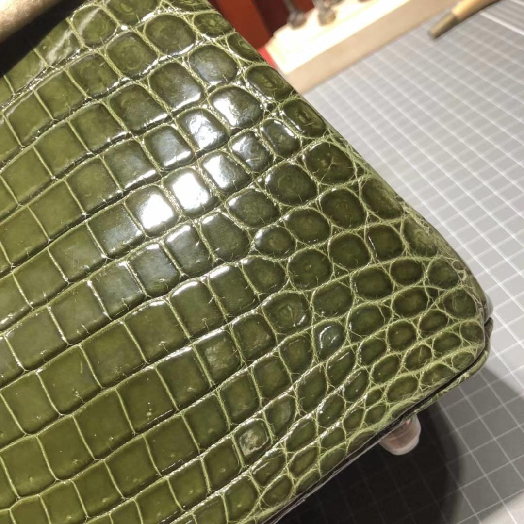 纯手工制作 Hermes爱马仕61橄榄绿御用尼罗鳄鱼皮Birkin30铂金包 银扣
