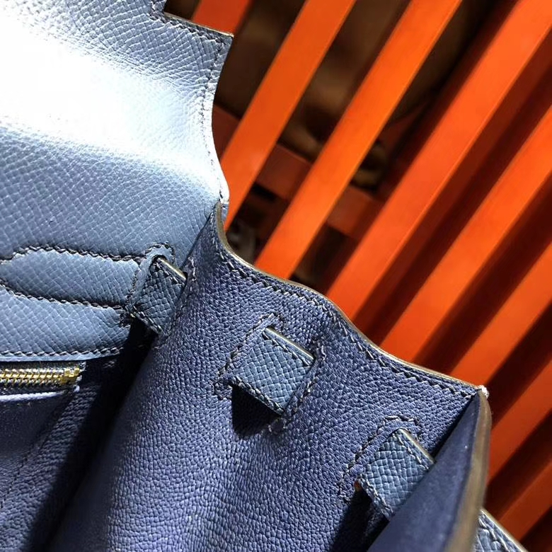 爱马仕凯莉包价格 Hermes Kelly28cm R2玛瑙蓝epsom牛皮 配限量款编织肩带