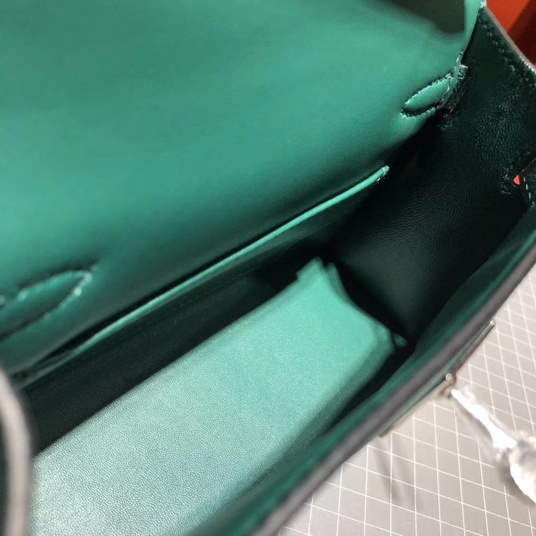 Hermes Minikelly2代 爱马仕原厂Epsom牛皮迷你凯莉包19CM 孔雀绿 银扣