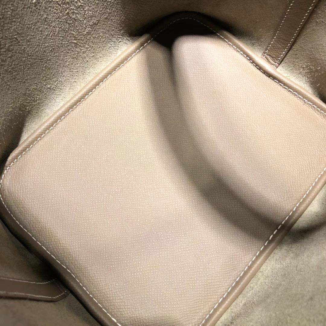 爱马仕菜篮子包 Hermes Picotin22CM 大象灰Epsom牛皮编织手柄水桶包