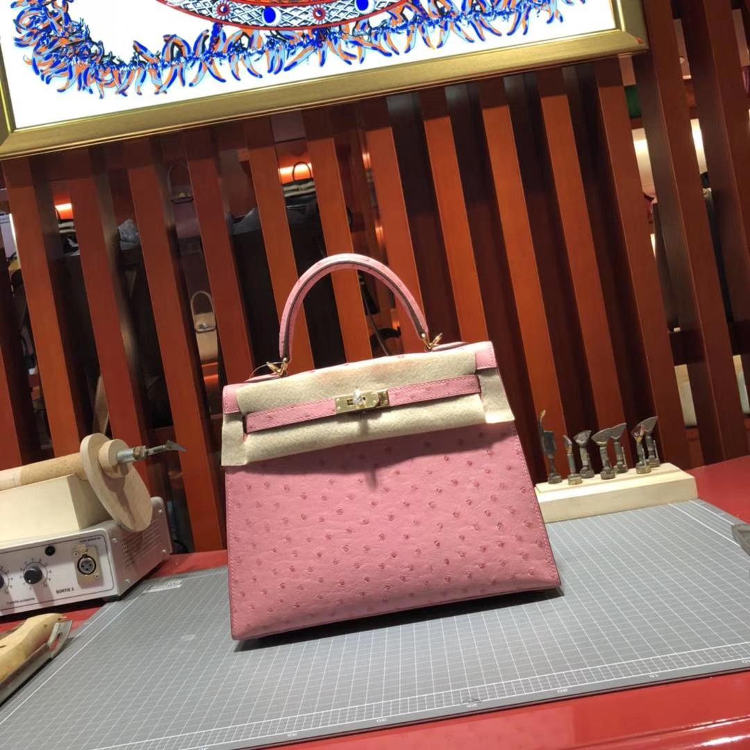 Hermes Kelly25CM 爱马仕陶瓷粉顶级鸵鸟皮凯莉包 金扣