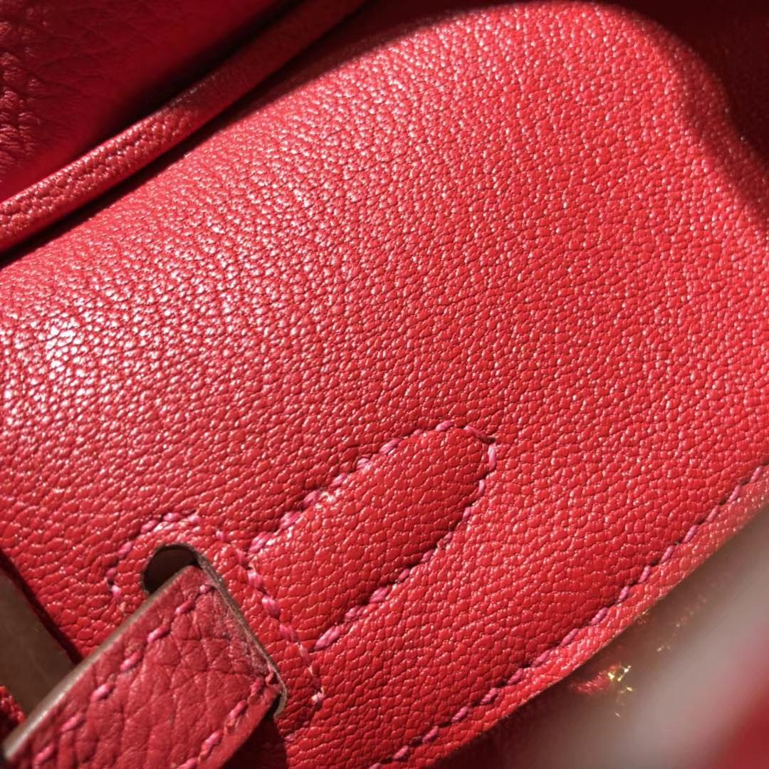 爱马仕铂金包尺寸 Hermes原厂Togo牛皮Birkin25CM Q5中国红 金扣