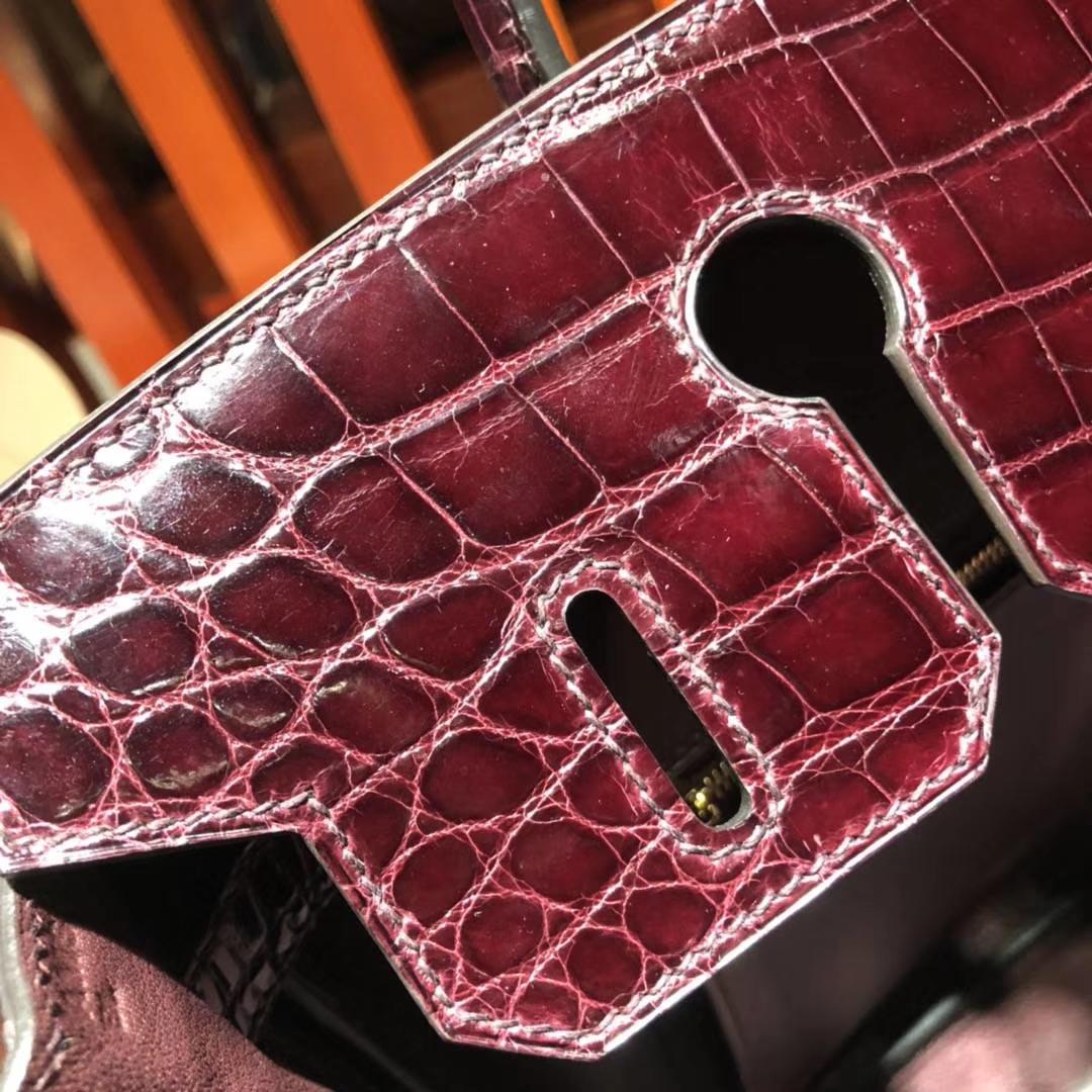 爱马仕新款铂金包 Hermes Birkin30CM 57波尔多酒红亮面鳄鱼皮 金扣